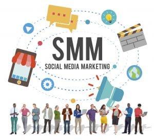 Social media marketing online business concept