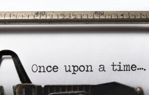 "This is an image of ""Once Upon a Time"" typed on a typewriter."