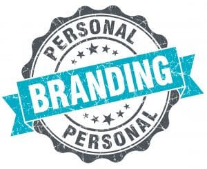 """Grey and blue badge with words """"Personal Branding"""""""