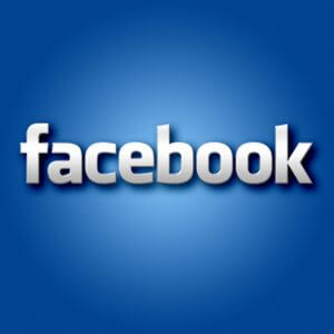 the word facebook on a blue background