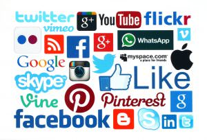 Group of social media logos.