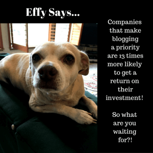 A photo of Effy the dog with text about the power of blogging.