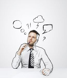 thinking drawing man sitting on table with cloud