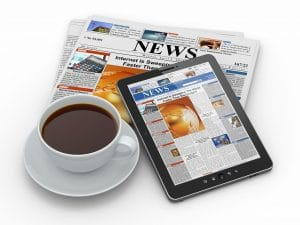 Morning news tablet pc, newspaper and cup of coffee 3d