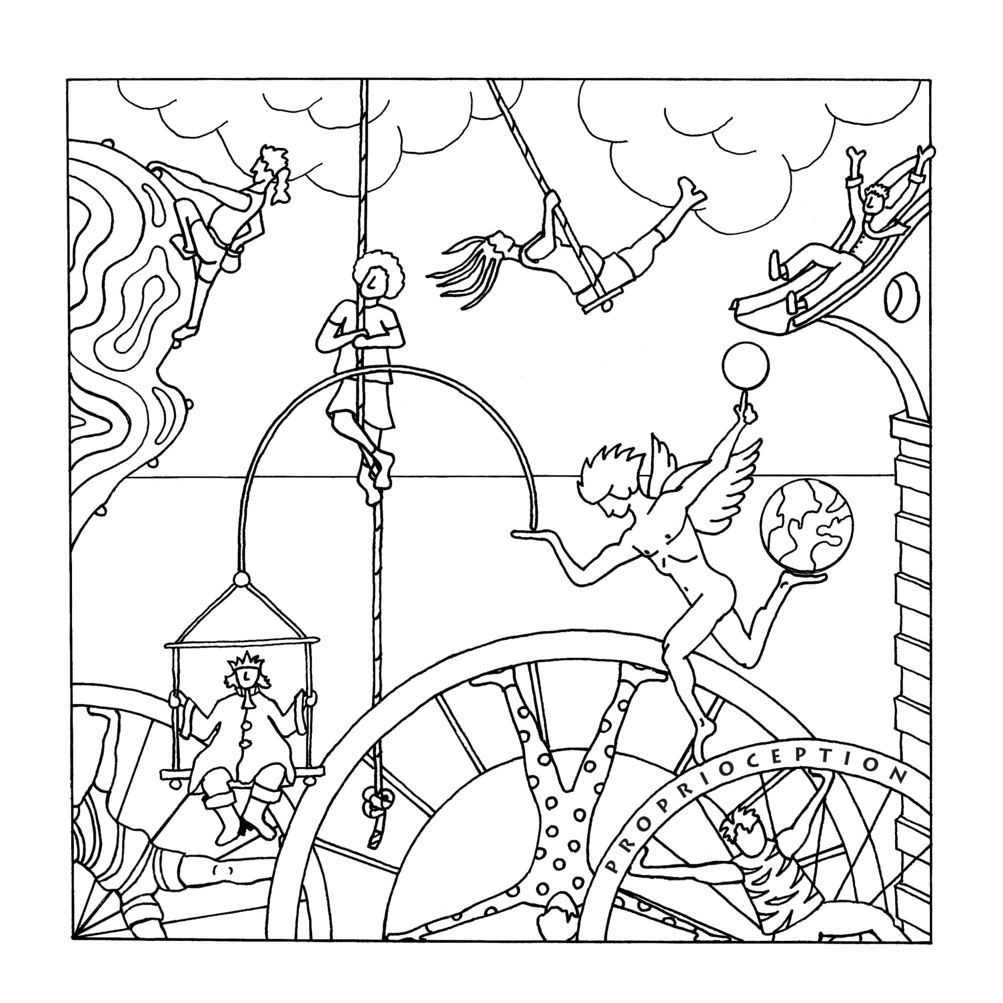 as the book explains proprioception is the felt sense of the periphery location and movement of our bodies it uses touch muscle movement and - Bicycle Coloring Book