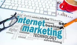 Internet marketing word cloud on office scene