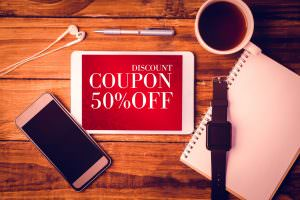 Tablet and Cell Phone noting a coupon for 50% off.