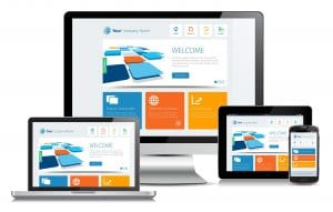 Responsive design concept on various media devices.