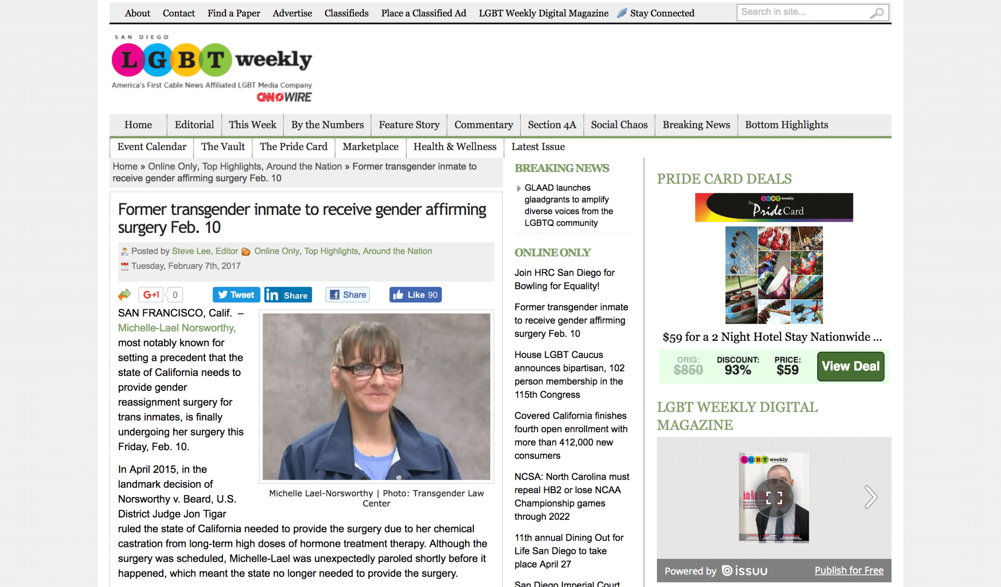 """425d1bb019f Media Outlet: LGBT Weekly Client: Michelle-Lael Norsworthy From the  Article: """"Michelle-Lael Norsworthy, most notably known for setting a  precedent that the ..."""