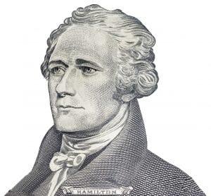 """Alexander hamilton"" face on us ten or 10 dollars bill macro, united states money closeup on white background"