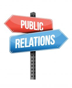 Marketing concept: public relations road sign illustration design