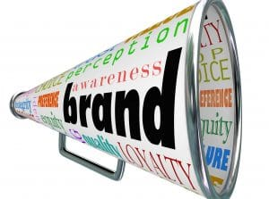 A bullhorn or megaphone trumpeting a product's or comapny's brand to build reputation, identity, credibility and other branding elements