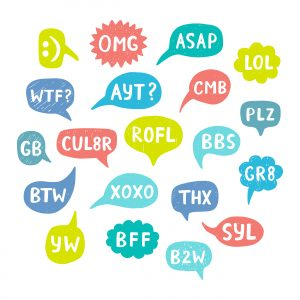 Hand Drawn Internet Acronyms, Abbreviations in Chat Bubbles. Networking and conversation. Vector illustration