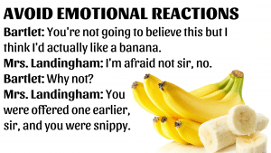 An image of bananas with a West Wing quote superimposed over it.