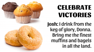 A picture of muffins and bagels with a quote from the West Wing superimposed on top.
