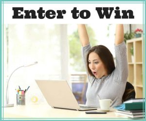 "Excited woman at laptop with the text ""Enter to Win"" above"