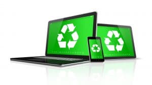 3D Laptop tablet PC and smartphone with a recycling symbol on screen.