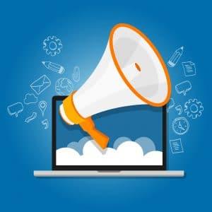 megaphone announce speaker shout online public relation marketing digital vector