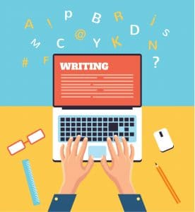 Hand typing on laptop flat illustration
