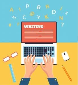 Hand typing on laptop flat illustration