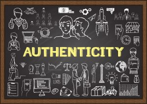 The word Authenticity on a blackboard with images of people connecting drawn in chalk around it.