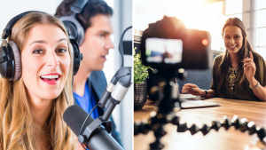 Two images side by side: A woman recording a podcast and a woman recording a video.
