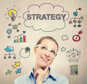 Strategy concept with young business woman wearing white eyeglasses