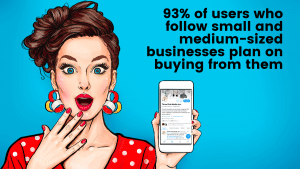 A cartoon woman holding a mobile phone with Twitter up on it.