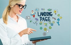 Landing Page text with business woman using a tablet