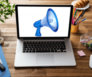 An image of a computer with a megaphone on it.