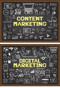 Two black boards with various marketing symbols and the words content marketing, the other reads digital marketing