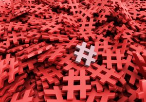 Infinite hashtags on a plane original 3d rendering image