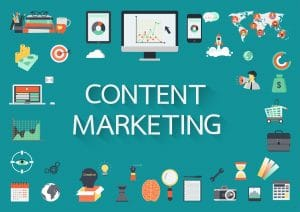 Content Marketing text with symbols.