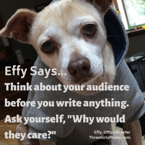 Effy Says... think about your audience!