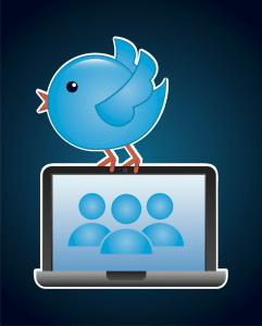 An image of the Twitter bird on top of a laptop