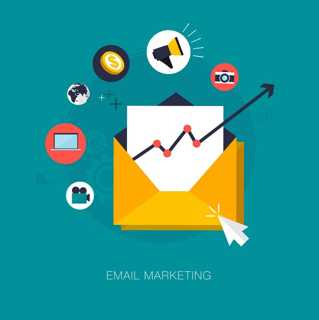 Email Marketing graphic with a chart depicting increasing sales inside of an open envelope from promotional emails.