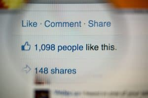 Image of a likes, comments and shares on Facebook.