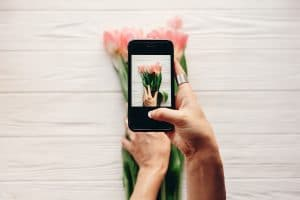 Person taking photo of flowers for Instagram Instagram advertising boosted post.