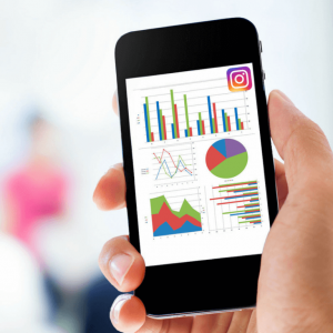 Image of mobile analytics with Instagram logo at the top