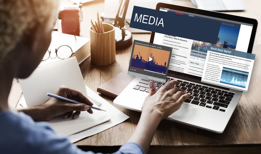Woman Looking Media Global Daily News Content Concept On Computer
