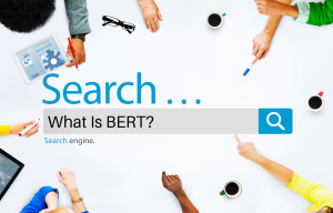 "Graphic of search bar with various arms pointing at it and ""What is BERT?"" in the search window"