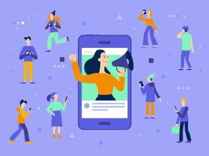 Cartoon woman inside phone shouting through bull horn to capture attention of people around her.