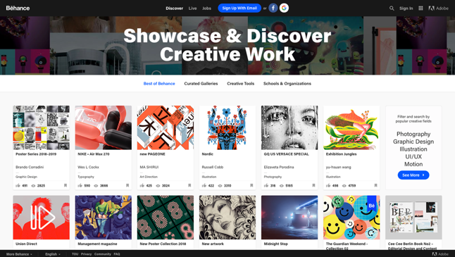 Behance. A creative social media platform from Adobe for artists.