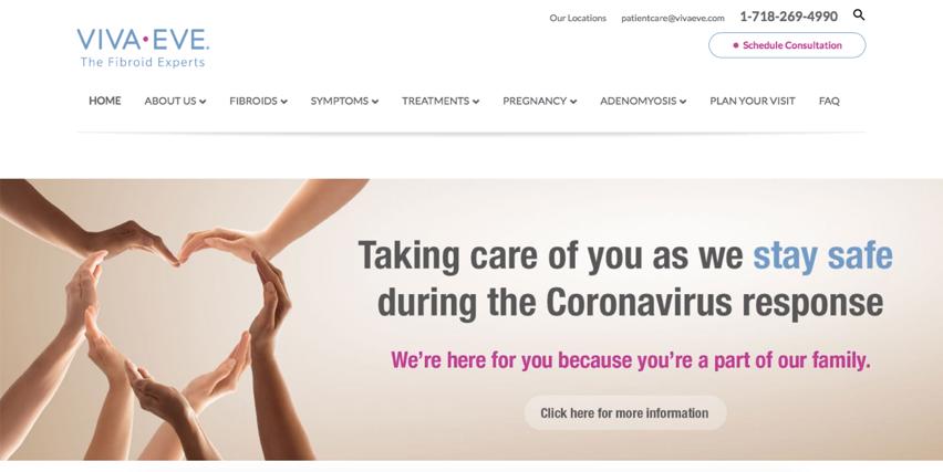 Viva Eve homepage web design by Three Girls Media