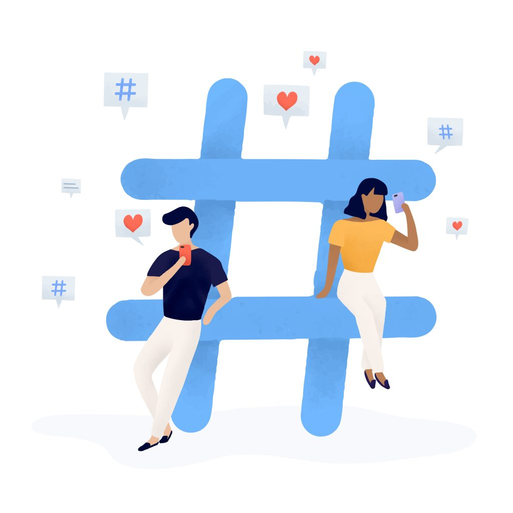 Marketing on TikTok - Graphic of people leaning on a digital hashtag