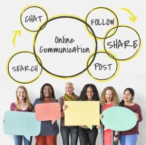 Six people hold up large paper speech bubbles. The word Online Communication is above them, with the words follow, chat, share, post and search around it, explaining the social media cycle.