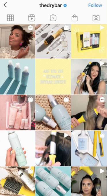 A screenshot of DryBar's Instagram page