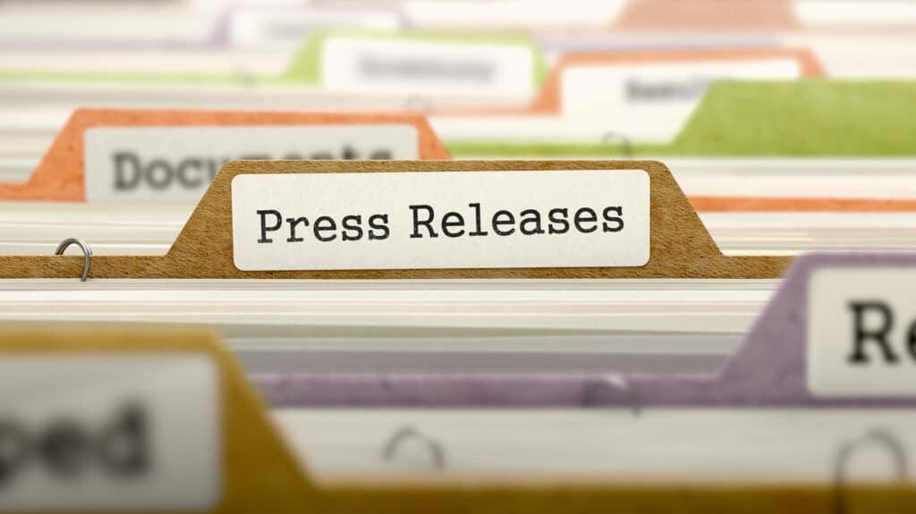 Press release organized in a file.