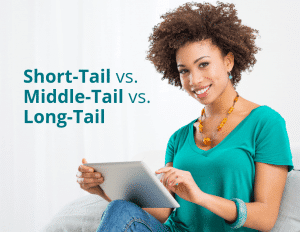 Next to a smiling woman are the words 'short-tail vs. middle-tail vs. long-tail'