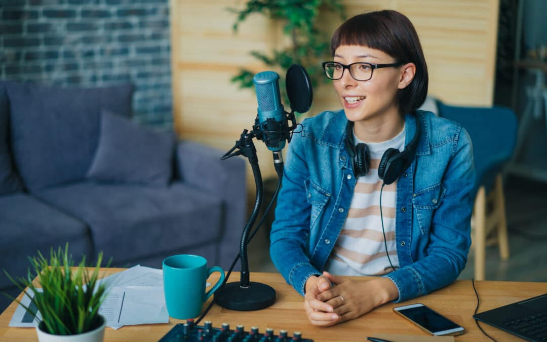 Woman podcasting for business